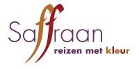 Het logo van Saffraa, reizen met kleur, waar De Vragenfabriek een serie quizvragen voor maakte voor op Facebook.
